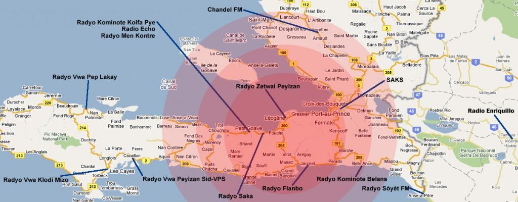 Mapa das rádios comunitárias do Haiti. Reproduzido com permissão da AMARC.