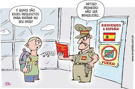 "- ""And what are  the  requirements to enter in your country?"" -""Article one: Not to be a Brazilian."" Cartoon by Amarildo, used with permission."