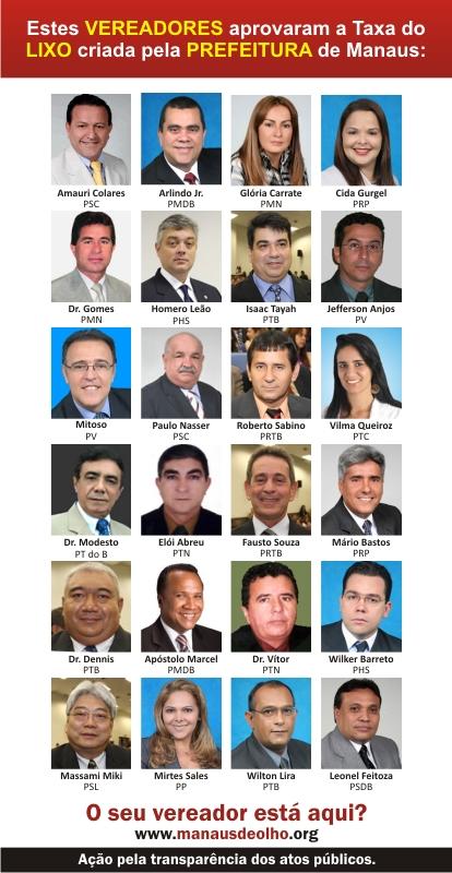 """""""Estes vereadores aprovaram a Taxa do Lixo criada pela Prefeitura de Manaus"""". Imagem do blog Manaus de Olho"""