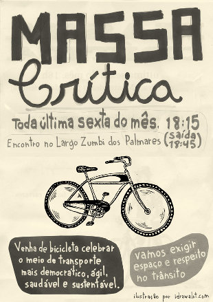 Critical Mass poster calling for the use of bicycles. Used with permission.