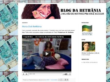 "Screenshot of the satyrical blog, ""Blog da Bethânia, 1 milhão de motivos para você acessar"" (Blog of Bethânia, 1 million reasons for you to access)."