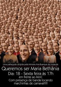 "Cartaz do protesto ""Queremos ser Maria Bethania"" convocado por Leon Prado no Facebook."