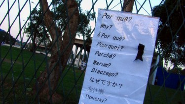 Questionnaire hung outside Wellington's house. Photo by the author, Saulo Valley