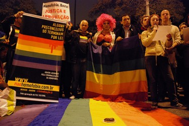 """Some prejudices only end by law"" - Act in repudiation of the homophobic crimes in Sao Paulo's Gay Parade, 2009. Photo by Marcel Maia in Flickr, Creative Commons 2.0"