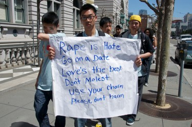 """Rape is hate. Go on a date. Love is the best. Don't molest. Use your charm. Please don't harm."" Photo by Steve Rhodes on Flickr (CC BY-NC-ND 2.0)."