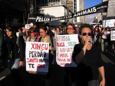 """Manifestação em São Paulo no dia 5 de junho. Os cartazes dizem: """"Xingu, perdão!"""", """"Energia eólica!"""" e """"Pelos direitos animais!"""". Foto da usuária do Flickr Guima-San, compartilhada sob licença Creative Commons (CC BY 2.0)."""