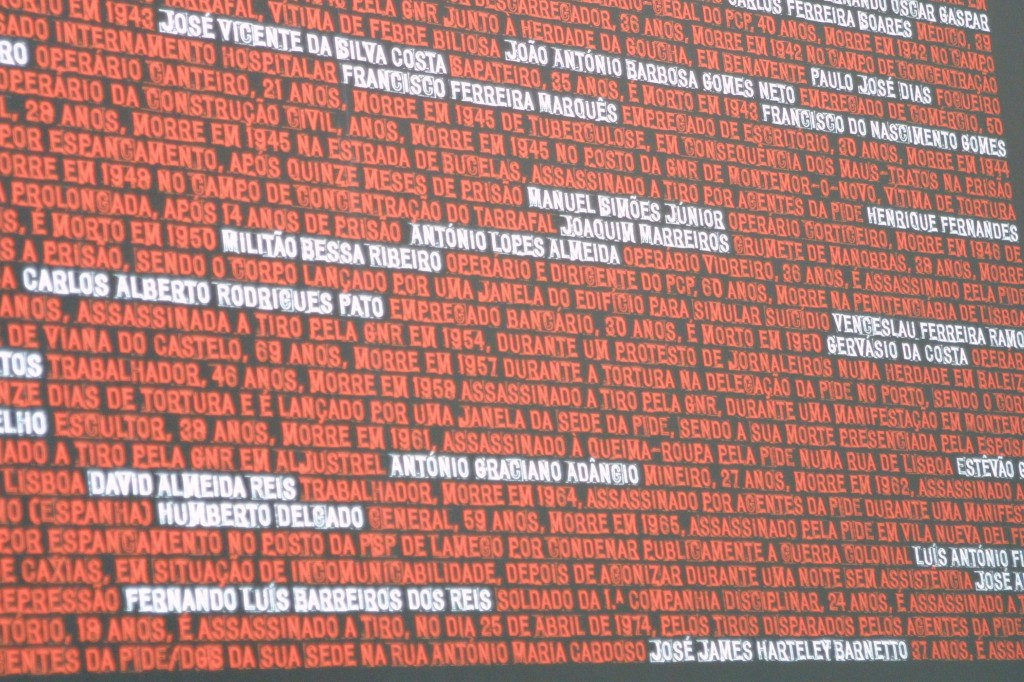 Wall in Aljube jail with the names of the men and women murdered by the PIDE, some by direct order from Silva Pais. Photo by Daniel Jota, shared in a Facebook group in solidarity with the defendants in criminal proceedings against 'The Maverick Daughter'.