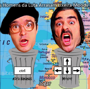 "The political music group Homens de Luta made an online game to ""destroy the Moodys trashcan""."