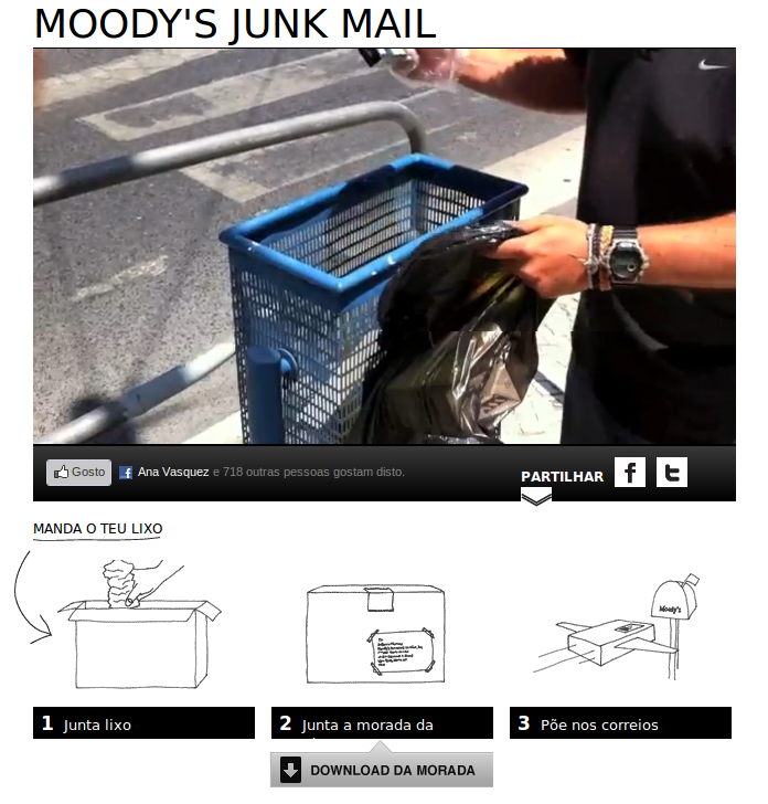 Instructions on the sending of trash to Moodys from the site LixoParaAMoodys.com (Trash For Moodys).