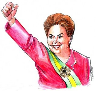 Dilma Rousseff. Cartoon under CC by Carlos Latuff.