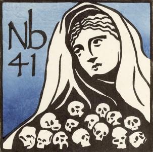 Gravura da Tabela Periódica com a figura da mitologia grega Níobe, que inspirou a denominação do elemento Niobium Nb41. Copyright Annette Haines (usada com permissão).
