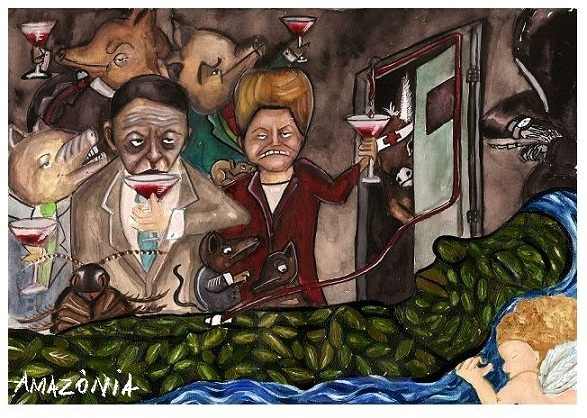 Minister of Mines and Energy, Edson Lobão, and President Dilma Rousseff make a toast as the forest destroyed by Belo Monte suffers. Cartoon by Ju Borges (@peledaterra), of blog Pele da Terra, used with permission.