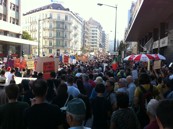 Concentration in Marquês de Pombal, Lisbon. Photo by José M. on Foursquare