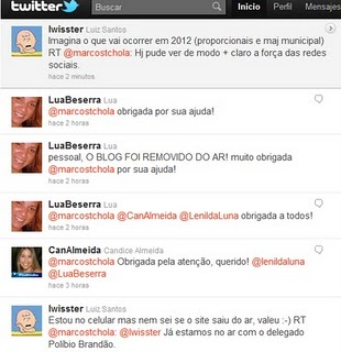 Screenshot of Twitter action from blog Jornal do Ócio