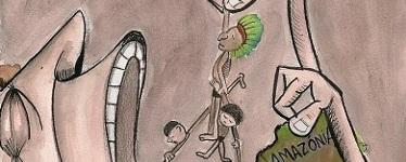 UHE Belo Monte, charge de Juliana Borges, Pele da Terra no Deviant Art (usada com permissão).