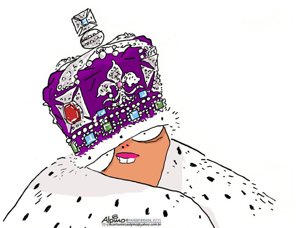 Crowned Dilma. Illustration by Alberto Alpino Filho, published in Yahoo! Brasil and republished with permission.