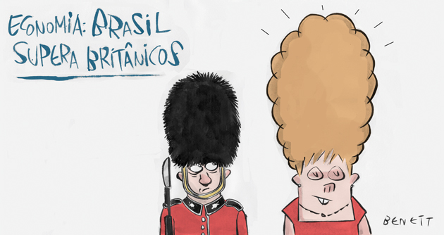 Economy: Brazil overtakes the British. Illustration by Benett, published with permission.