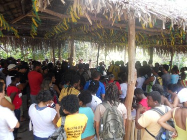 Plenary in Quilombo Rio dos Macacos. Photo shared by Poliana Rebouças on Facebook.