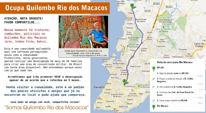 Occupy Quilombo Rio dos Macacos. Directions Map.