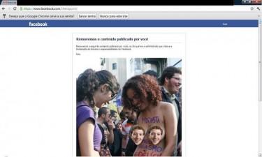 """Foto de Luka Franca deletada pelo Facebook e postada com """"censura"""", em tom de brincadeira, por Pedrão Nogueira. A foto sem censura pode ser vista no link."""