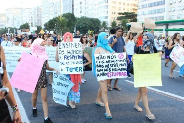 """Don´t teach us how to dress, teach men not to rape"". Photo by Camila Prott, used with permission"