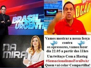 Tuitaço #SensacionalismoForaDoAr. Imagem de uso livre