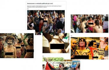 Photos censored by photos returned with black-outs on the profile of the SlutWalk of Belo Horizonte.