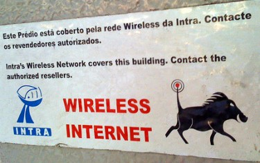 Wireless sign on a building in Maputo. Photo by rabanito on Flickr (CC BY 2.0)