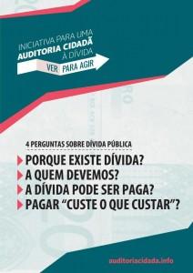 Cartaz da Iniciativa por Uma Auditoria Cidadã à Dívida Pública partilhado no Facebook.