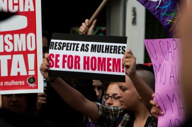 """If You're Man Enough, Respect Women"".  Photo by Andre M. Chang copyright Demotix (04/06/2011), São Paulo, Brazil."