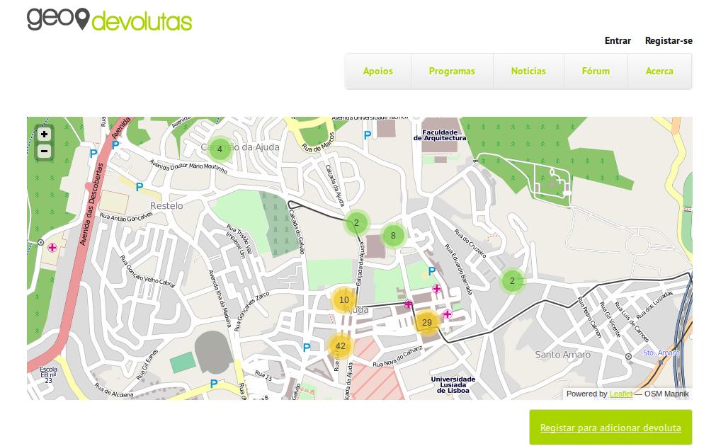 GeoDevolutas.org - Mappatura di case vuote e abbandonate in Portogallo.