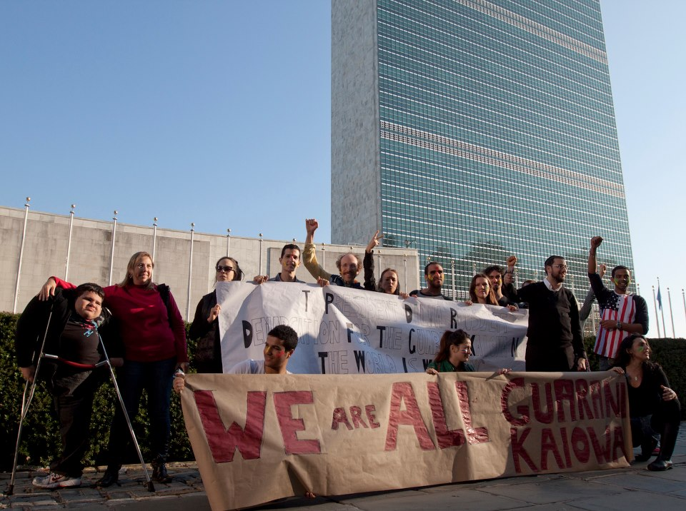 Protest in front of the United Nations, New York. Photo by Leandro Viana, Masayuki Azuma and Sebastian Loaysa, used with permission