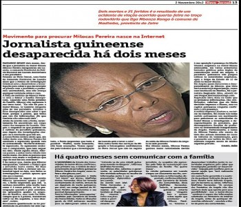 In its November 2nd edition, the Novo Jornal (New Newspaper) (Angola) dedicated an entire page to the disappearance of the journalist.