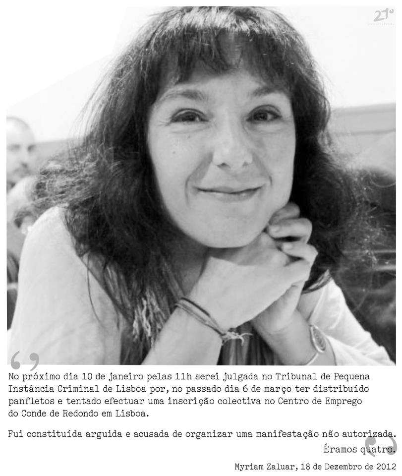 Call for solidarity with Myriam Zaluar. Image shared by  Artigo 21º