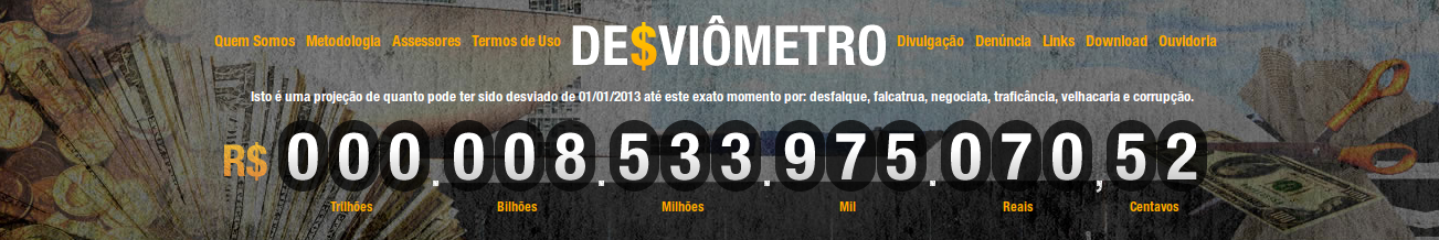 "Screenshot of the website Desviômetro: ""This is a projection of how much money might have been misappropriated from 01/01/2013 until this exact moment because of embezzlement, scams, trafficking, trickery and corruption."""