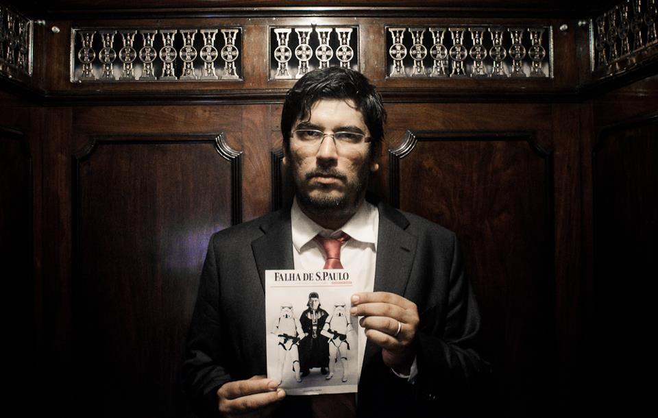 Lino Bocchini antes do julgamento da Falha de São Paulo. Foto do coletivo Fora do Eixo/PósTV. Uso livre.