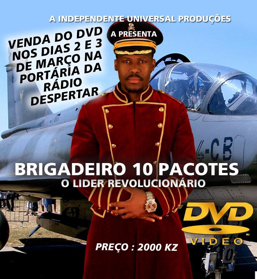 "Cover of the DVD ""O Líder Revolucionário"". Angola 24 Horas <a href=""http://www.angola24horas.com/index.php?option=com_content&amp;view=article&amp;id=7653:policia-nacional-confisca-os-cds-do-brigadeiro-10-pacotes&amp;catid=23:angola24horas&amp;Itemid=34"">says</a>, ""Brigadeiro 10 Pacotes focuses his lyrics on problems within society, social inequality, political violence in Angola and the progress of the children of Angolan leaders""."