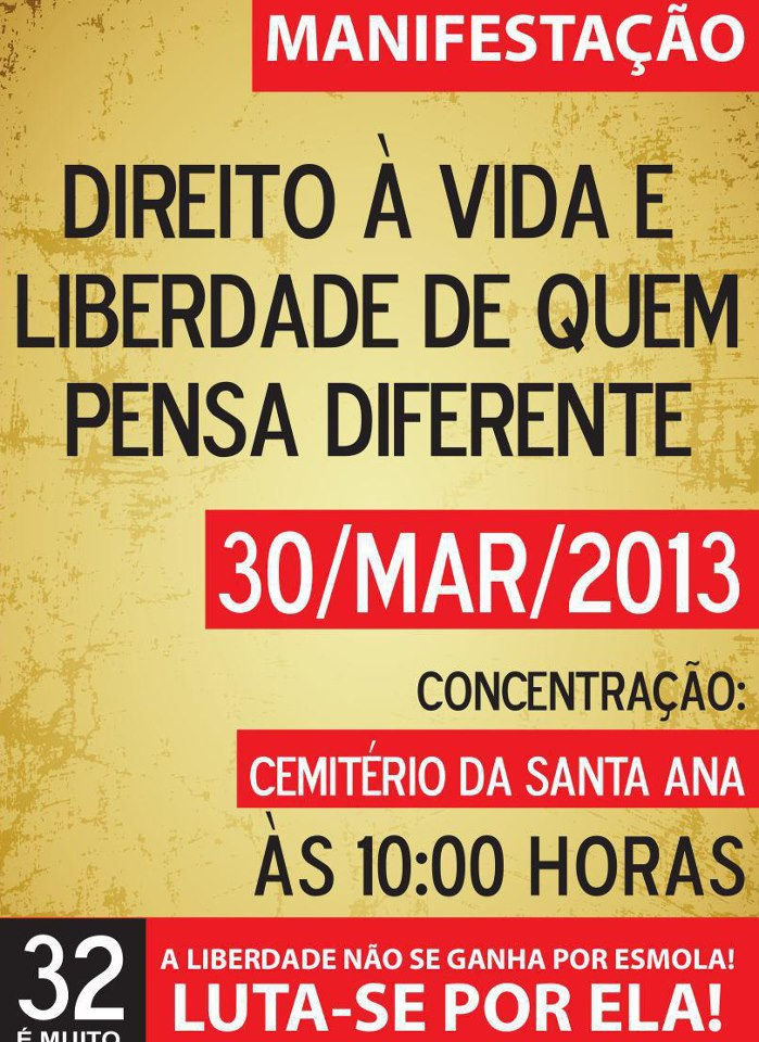 Cartaz da manifestação convocada no Facebook.