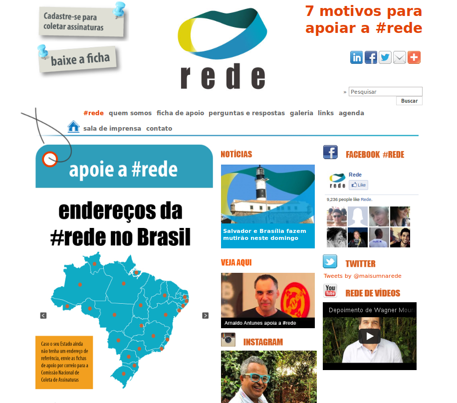 Screenshot of the website http://brasilemrede.com.br/
