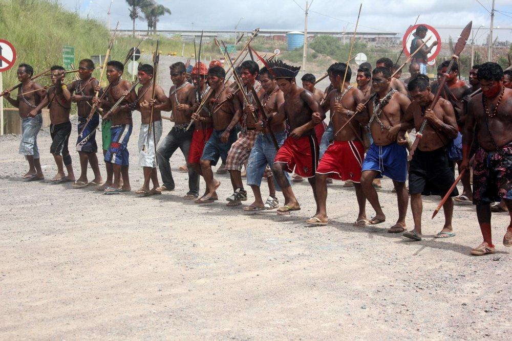 Canteiro de Belo Monte ocupado em 6 de maio de 2013. Foto de Paygomuyatpu Munduruku, sob licença CC by-sa 2.0