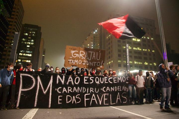 A line in the protest at Paulista Avenue on June 10 remembers the Carandiru massacre in São Paulo, and Candelaria in Rio de Janeiro. Both incidents were orchestrated by command of the military police of each state. Phot: Caio Castor/Faceboo.