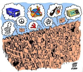 Charge D'Incao Instituto de Ensino - O que pensam os manifestantes que sacodem o Brasil?/ Carlos Latuff/D'Incao