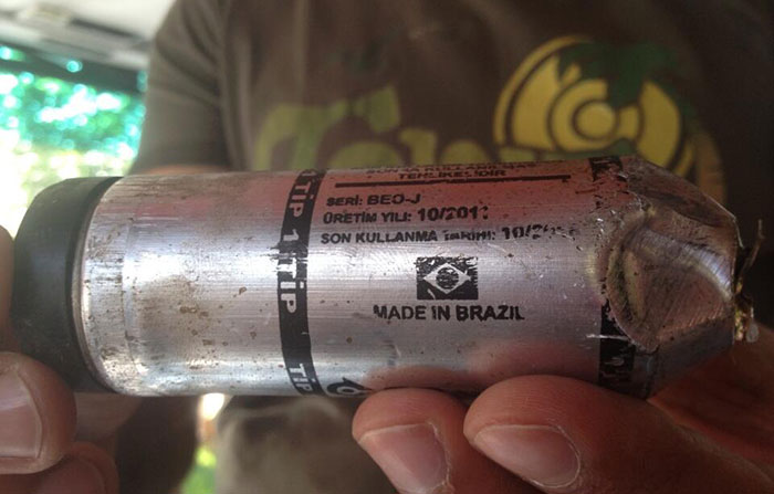 An American professor photographed one of the Brazilian tear gas projectiles used by the turkish police. Image: Suzette Grillot/ Under license from Creative Commons
