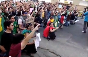 Screenshot/Video protestos no Rio Maracanã