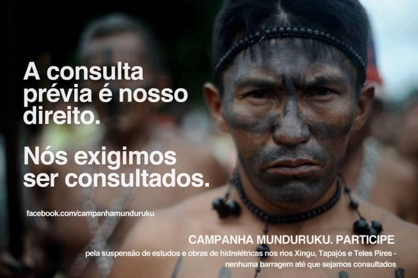 """Banner da Campanha Munduruku no Facebook , """"pela suspensão de estudos e obras de hidrelétricas nos rios Xingu, Tapajós e Teles Pires - nenhuma barragem até que sejamos consultados""""."""