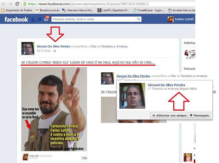 Screenshot of the profile of one of the military police officers that threatened Latuff on Facebook.