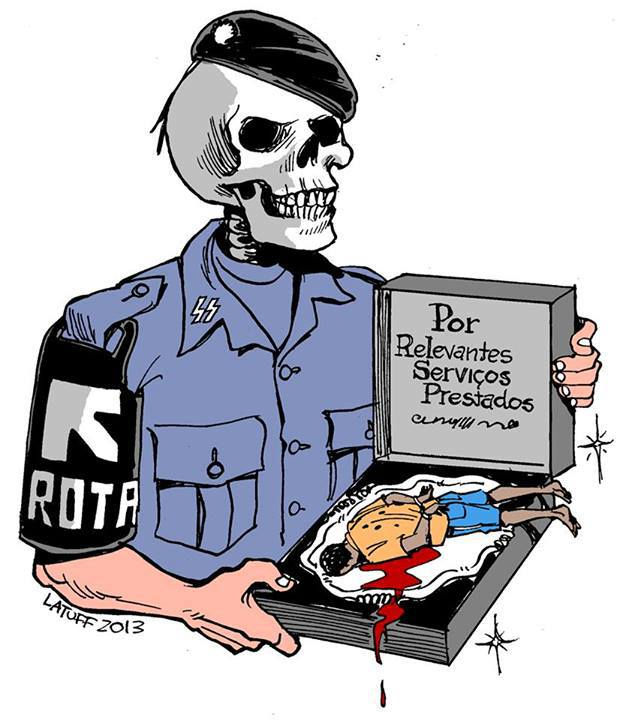 """For significant rendered services"" Latuff's engaging artwork, denouncing the crimes of the military police/ROTA. Cartoon by Carlos Latuff, free use."