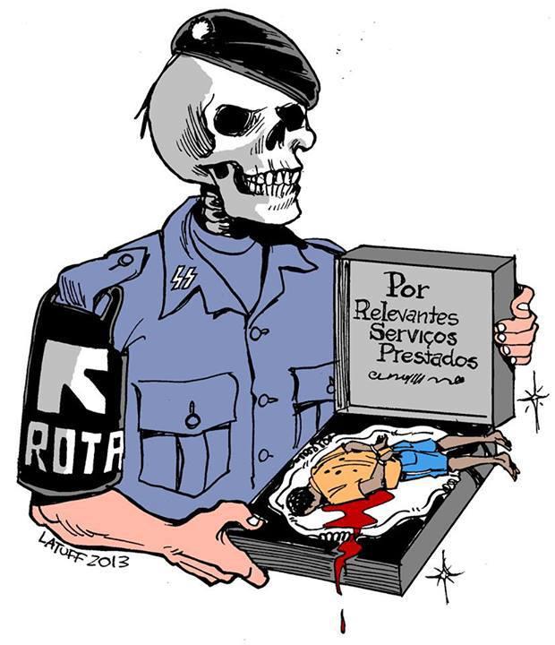 Resultado de imagem para charges contra violencia policial