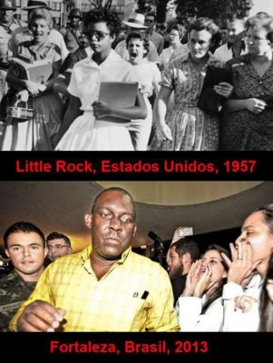 1957, student Elizabeth Eckford arrives for her first day of class in a desegregated school in Little Rock, USA. 2013, Cuban doctor being booed by Brazilian doctors, Fortaleza. Image shared more than 39,000 times on Facebook.