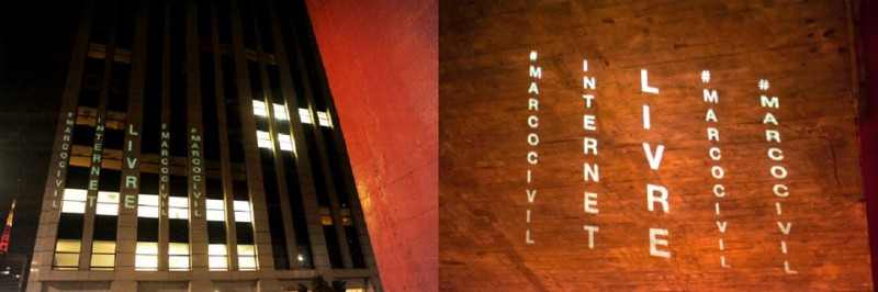 Projections from the Marco Civil Já (Marco Civil Already) collective projected on the São Paulo Museum of Art.